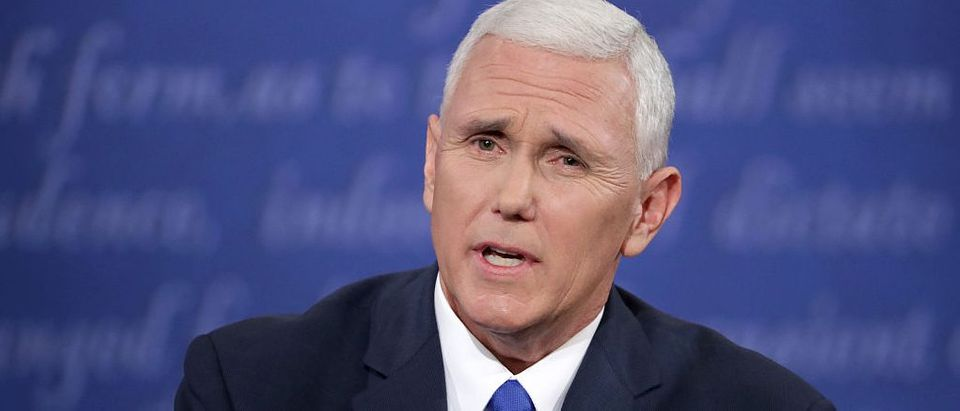 Mike Pence speaks during the Vice Presidential Debate (Getty mages)