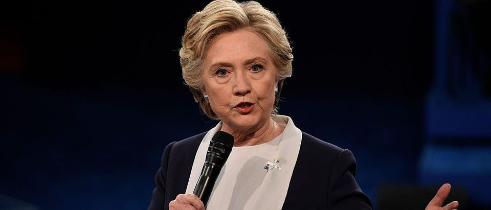 Democratic nominee Hillary Clinton speaks during the second presidential debate at Washington University in St. Louis, Missouri on October 9, 2016