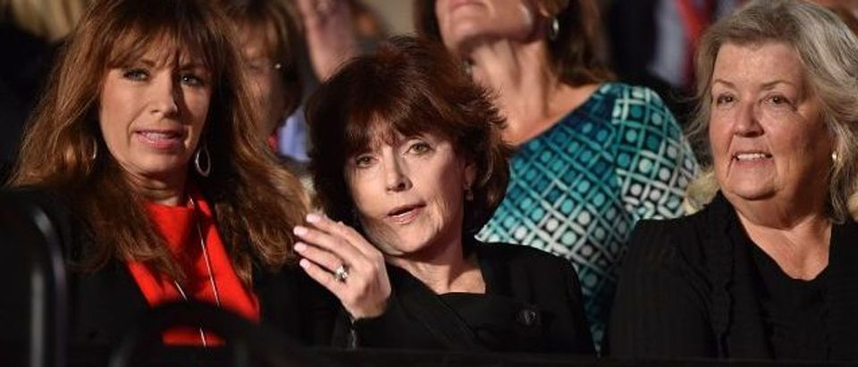 Paula Jones (L), Kathleen Willey (C) and Juanita Broaddrick (R) are seated for the second presidential debate between Republican presidential nominee Donald Trump and Democratic contender Hillary Clinton at Washington University in St. Louis, Missouri on October 9, 2016