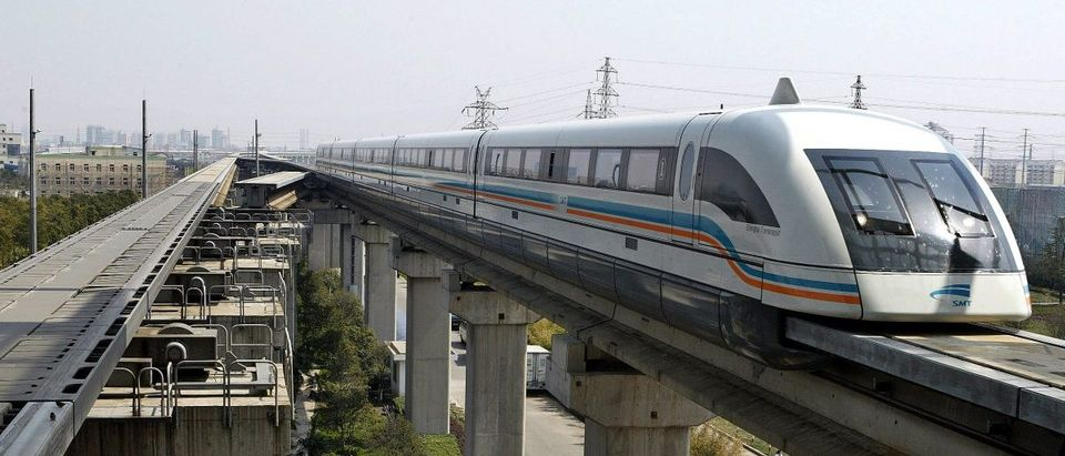 Maglev train drives into terminal station in Shanghai