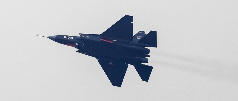 A J-31 stealth fighter of Chinese People's Liberation Army Air Force is seen during a test flight ahead of the 10th China International Aviation and Aerospace Exhibition in Zhuhai