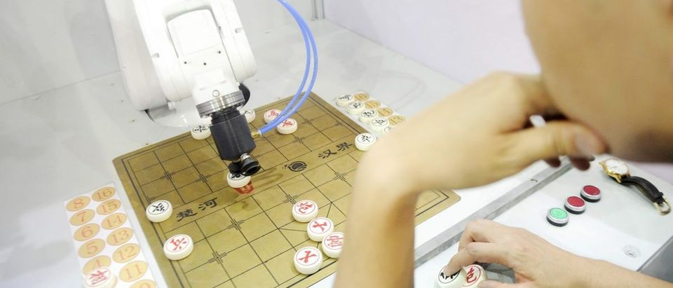 A man plays Chinese chess with a robot during Guangdong International Robot and Intelligent Equipment Expo, in Dongguan