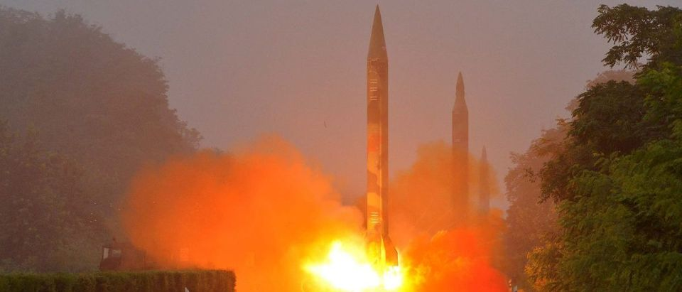 Ballistic rocket is seen launching during a drill by the Hwasong artillery units of the KPA Strategic Force
