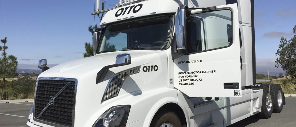 An Autonomous trucking start-up Otto vehicle during an announcing event in Concord, California