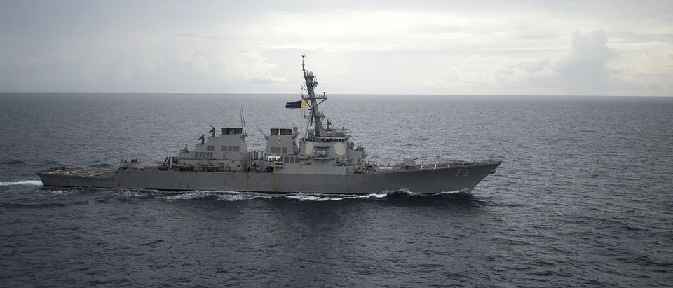 Guided-missile destroyer USS Decatur operates in the South China Sea