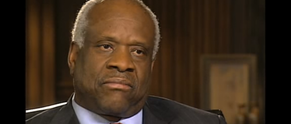 Justice Clarence Thomas speaks to Julian Bond for the University of Virginia Black Leadership Series. YouTube screen grab: https://www.youtube.com/watch?v=gfAZUYCZSLQ