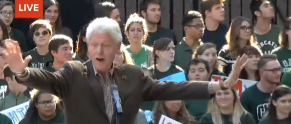 Bill Clinton speaks at a rally at Ohio University, Oct. 4, 2016. (Youtube screen grab)
