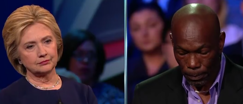Hillary Clinton and Ricky Jackson at March 13, 2016 CNN town hall. (Youtube screen grab)