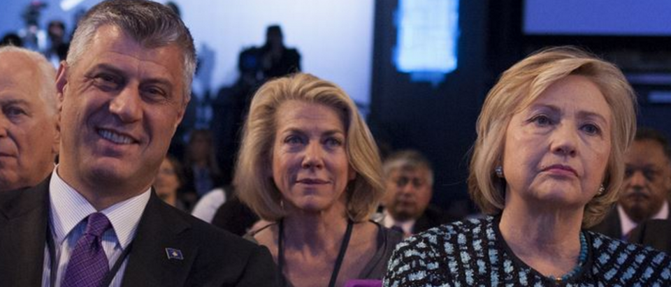 Kosovo prime minister Hashim Thaci and former Sec. of State Hillary Clinton at Clinton Global Initiative annual meeting, Sept. 24, 2013. (via Office of Prime Minister of Kosovo)