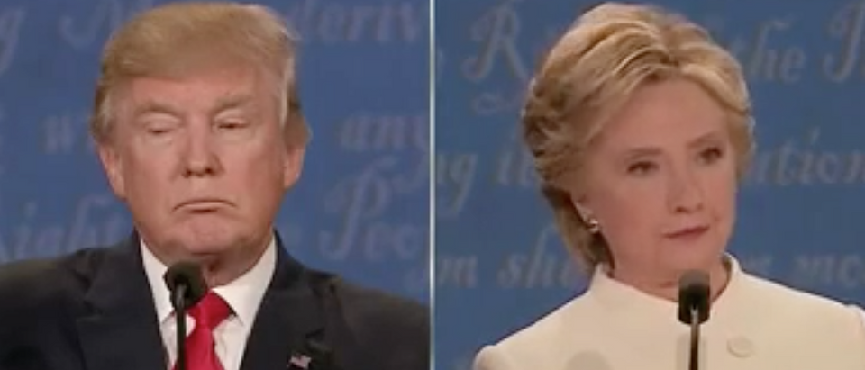 Donald Trump and Hillary Clinton at Oct. 19, 2016 presidential debate. (Youtube screen grab)