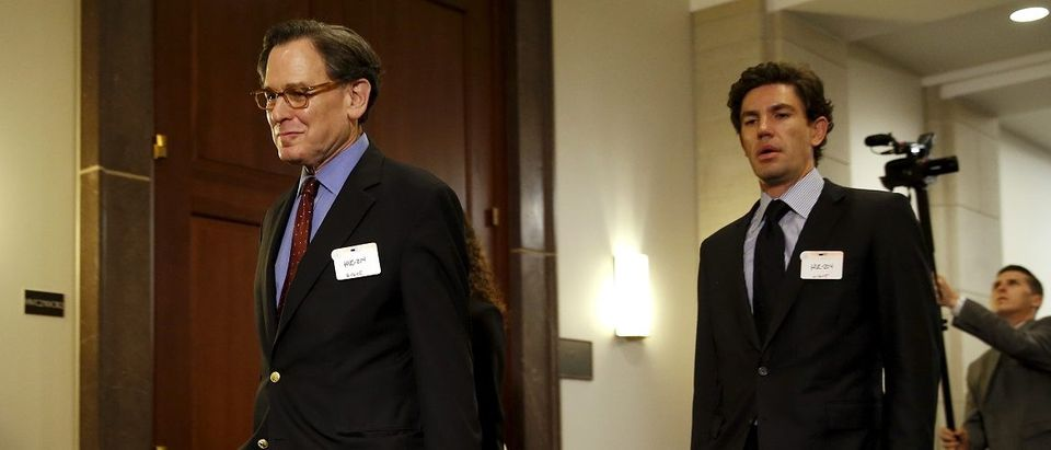 Sidney Blumenthal (L), a longtime Hillary Clinton friend who was an unofficial adviser while she was secretary of state, arrives to be deposed in private session of the House Select Committee on Benghazi at the U.S. Capitol in Washington June 16, 2015. Congressional investigators had issued a subpoena seeking testimony from Blumenthal because he emailed private intelligence reports to Clinton on events in Libya before and after the deadly attacks by militants that killed four Americans including U.S. Ambassador to Libya Chris Stevens. REUTERS/Jonathan Ernst -