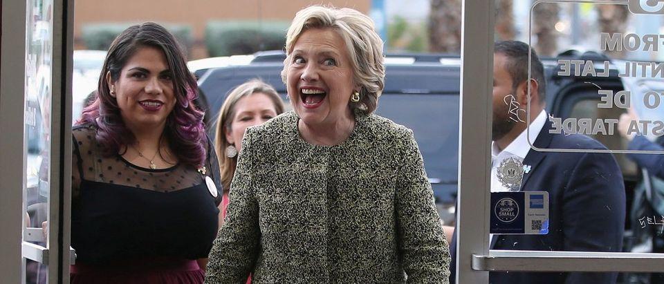 U.S. Democratic presidential nominee Hillary Clinton arrives to greet people at Tacos El Gordo in Las Vegas