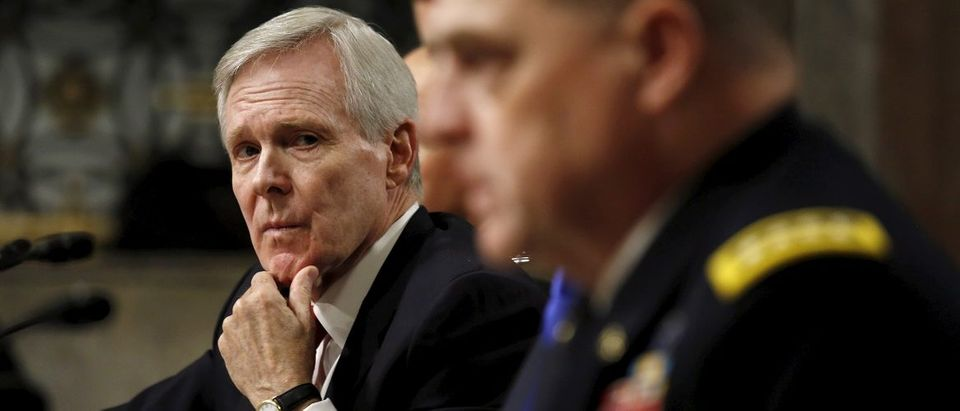 Mabus and Milly testify at the Senate hearing about women deployed in ground combat units on Capitol Hill in Washington