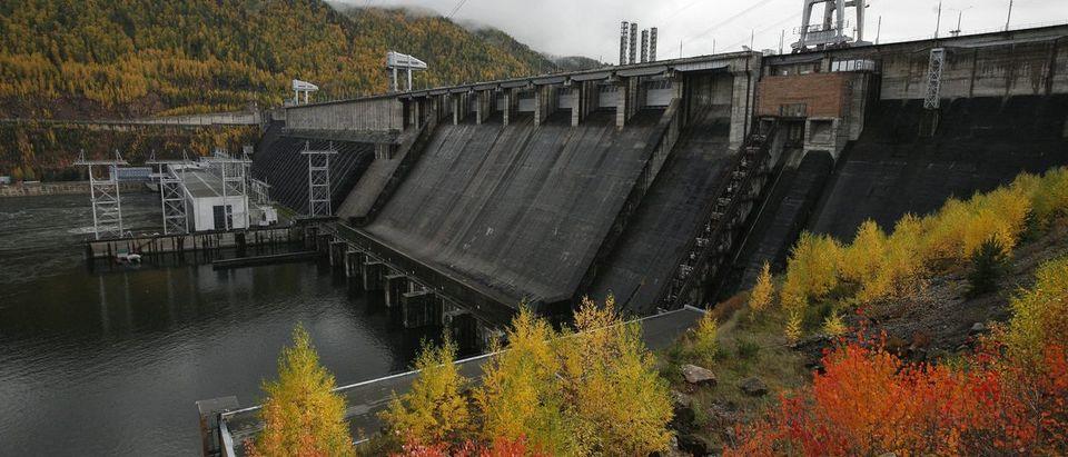 The Krasnoyarsk hydro electric power station and dam, south of the city of Krasnoyarsk