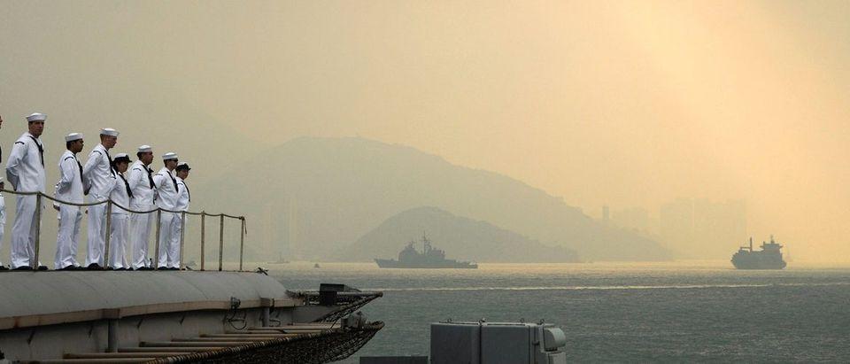 US Navy handout photo of US sailors aboard the USS George Washington in Hong Kong