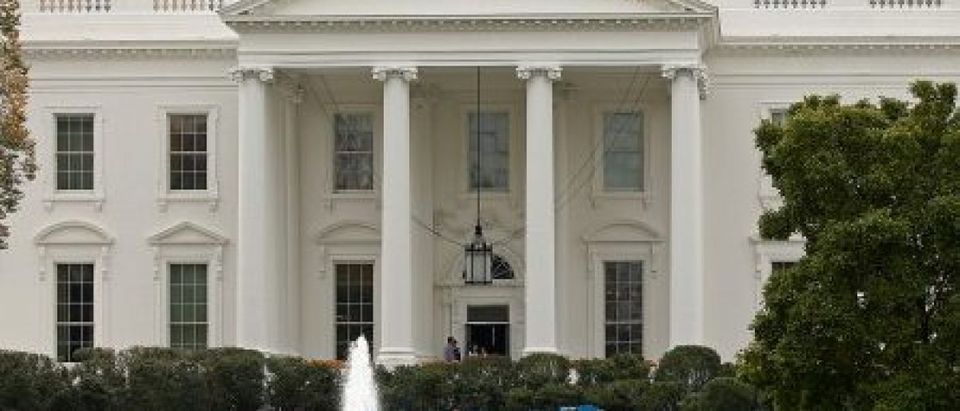 Work begins on Inaugural stands in front of the White House in Washington