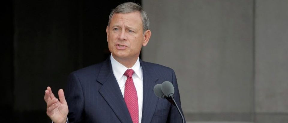 U.S. Supreme Court Chief Justice John Roberts speaks at the dedication of the Smithsonian's National Museum of African American History and Culture in Washington