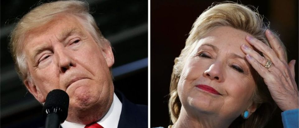 U.S. presidential candidates Donald Trump and Hillary Clinton attend campaign rallies in a combination of file photos