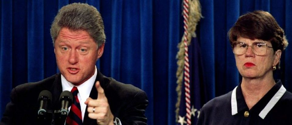 President Clinton, accompanied by Attorney General Janet Reno July 19..