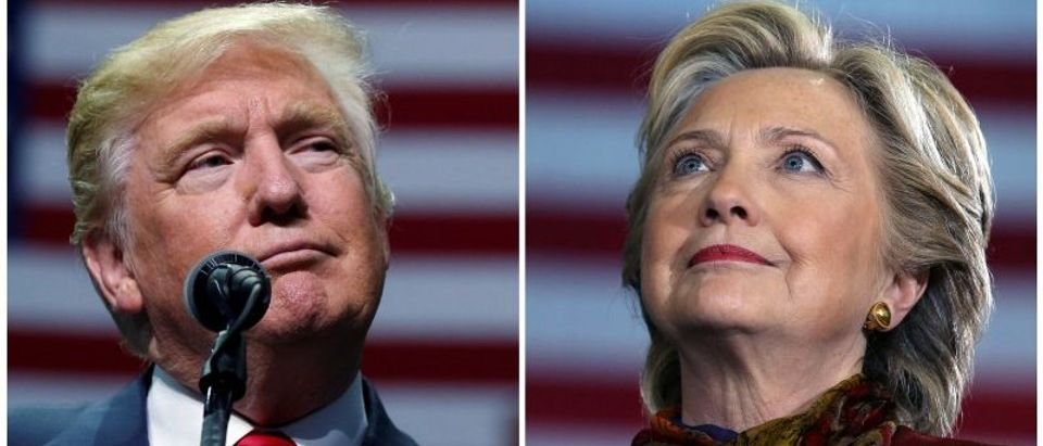 Presidential candidates Donald Trump and Hillary Clinton attend campaign events in Hershey, Pennsylvania, November 4, 2016 (L) and Pittsburgh, Pennsylvania, October 22, 2016 in a combination of file photos. REUTERS/Carlo Allegri/Carlos Barria/Files
