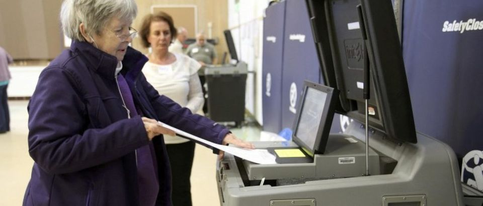 Susan Novak scans her ballots after voting during the U.S. presidential election in Ohio