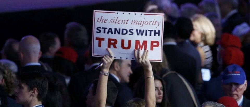 Trump supporters gather at Republican U.S. presidential nominee Donald Trump's election night rally in Manhattan, New York, U.S., November 8, 2016. REUTERS/Brendan McDermid