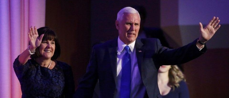 U.S. Republican vice presidential nominee Mike Pence and his wife Karen Pence arrive at U.S. Republican presidential nominee Donald Trump?s election night rally in Manhattan