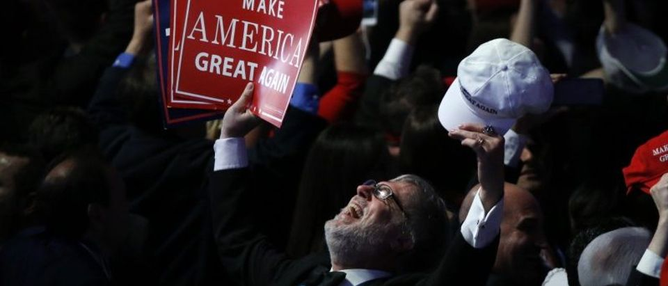 A Trump supporter celebrates as election returns come in at Republican U.S. presidential nominee Donald Trump's election night rally in New York