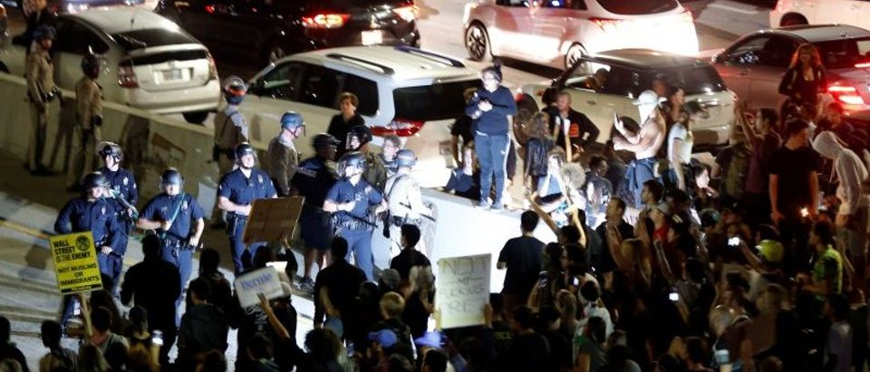 Demonstrators take over the Hollywood 101 Freeway in protest against the election of Republican Donald Trump as President of the United States in Los Angeles, California