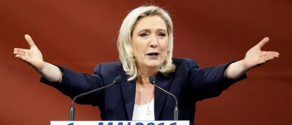 France's far right National Front political party leader Marine Le Pen delivers her speech as part of the National Front's annual May Day rally in Paris