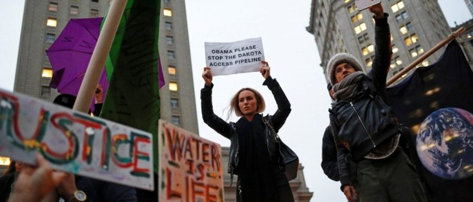 Demonstrators in New York gather to protest against plans to pass the Dakota Access pipeline near the Standing Rock Indian Reservation in North Dakota, U.S.