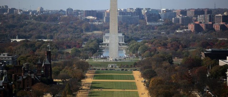 A general view of the National Mall is seen from the rebuilt cast-iron dome of the U.S. Capitol, which was formally completed on Tuesday on time for the inauguration of President-elect Donald Trump during a media tour in Washington, U.S.