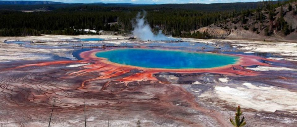 The Grand Prismatic Spring, the largest in the United States and third largest in the world, is seen in Yellowstone National Park,