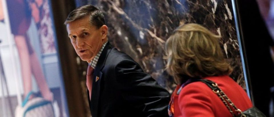 Retired U.S. Army Lieutenant General Michael Flynn departs after meeting with U.S. President-elect Donald Trump at Trump Tower in New York City