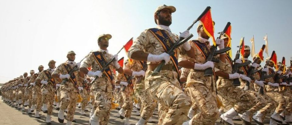 File picture of members of the Iranian revolutionary guard marching at a parade to commemorate anniversary of Iran-Iraq war, in Tehran