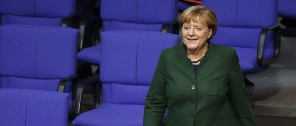 German Chancellor Merkel attends a meeting at the lower house of parliament Bundestag on 2017 budget in Berlin
