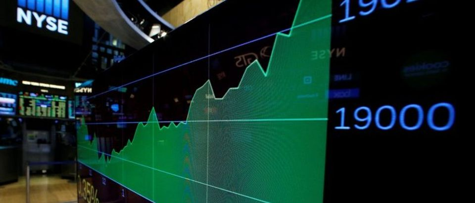 A screen shows the Dow Jones Industrial Average after the close of trading on the floor of the NYSE