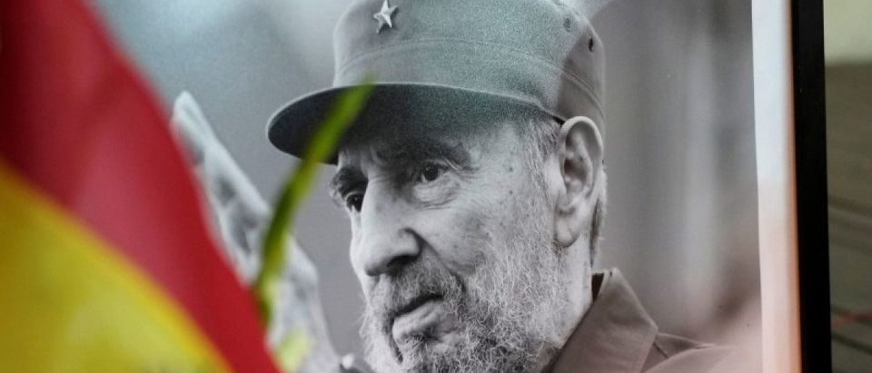 A photograph of Cuba's former President Fidel Castro is seen during a tribute ceremony, following the announcement of the death of Cuban revolutionary leader Fidel Castro in La Paz