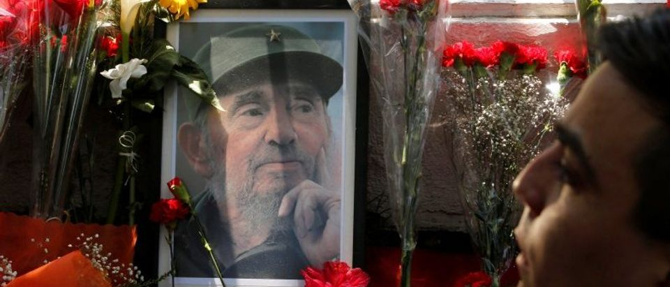 A picture of the late Cuban revolutionary leader Fidel Castro is on display outside the Cuban embassy in Chile, in Santiago
