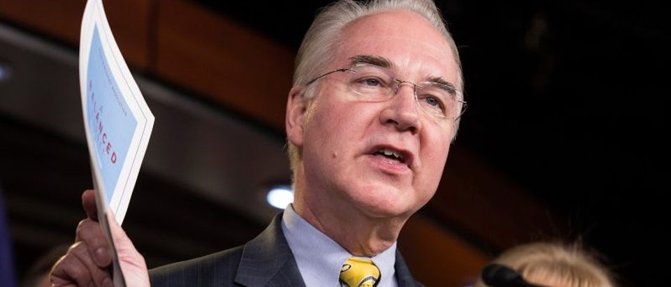 Chairman of the House Budget Committee Tom Price (R-GA) announces the House Budget during a press conference