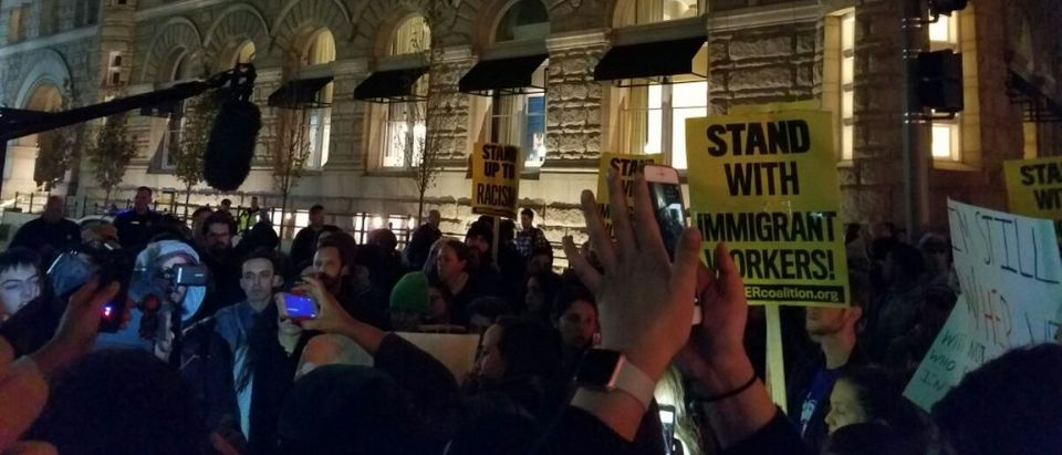 Protesters in front of Trump Hotel Phillip Stucky
