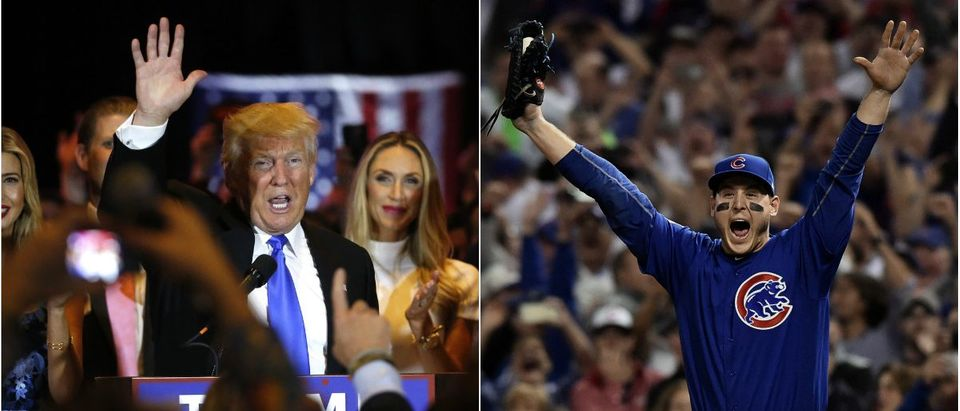 Donald Trump after Indiana Primary Victory: Lucas Jackson/Reuters, Chicago Cubs First Baseman Anthony Rizzo Celebrates Cubs World Series: Ken Blaze/Reuters via USA TODAY Sports