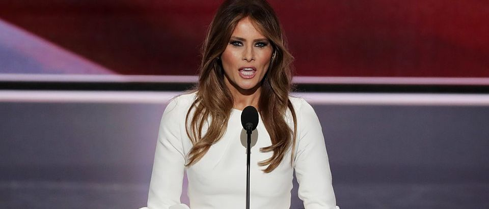Melania Trump, wife of Presumptive Republican presidential nominee Donald Trump, delivers a speech on the first day of the Republican National Convention on July 18, 2016 at the Quicken Loans Arena in Cleveland, Ohio. (Photo by Alex Wong/Getty Images)