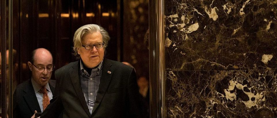 Steve Bannon exits an elevator in the lobby of Trump Tower on November 11, 2016 (Getty Images)