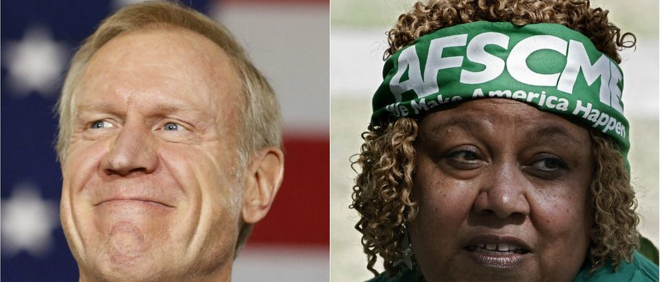 Illinois Governor Bruce Rauner: REUTERS/Jim Young, AFSCME Union Member Robin Chisolm: REUTERS/Jonathan Alcorn