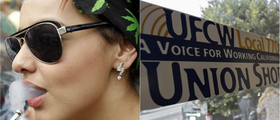 UFCW Union Sign: REUTERS/Jonathan Alcorn, Woman smoking marijuana: REUTERS/Fredy Builes