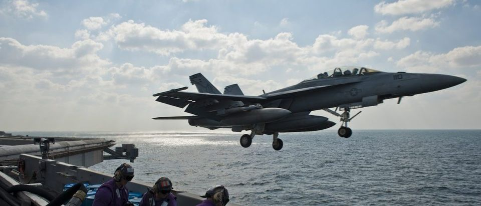 US Navy handout photo of the USS John C. Stennis aircraft carrier in the Arabian Sea