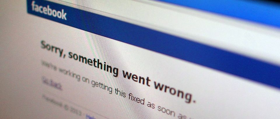 Illustration photo of a Facebook error message in a computer screen in Singapore