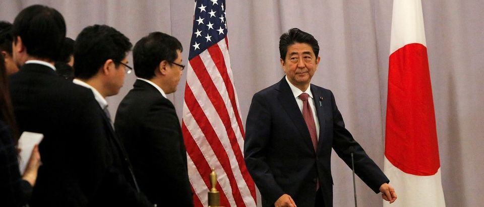 Japanese Prime Minister Shinzo Abe addresses media following a meeting with President-elect Donald Trump in Manhattan, New York, U.S.