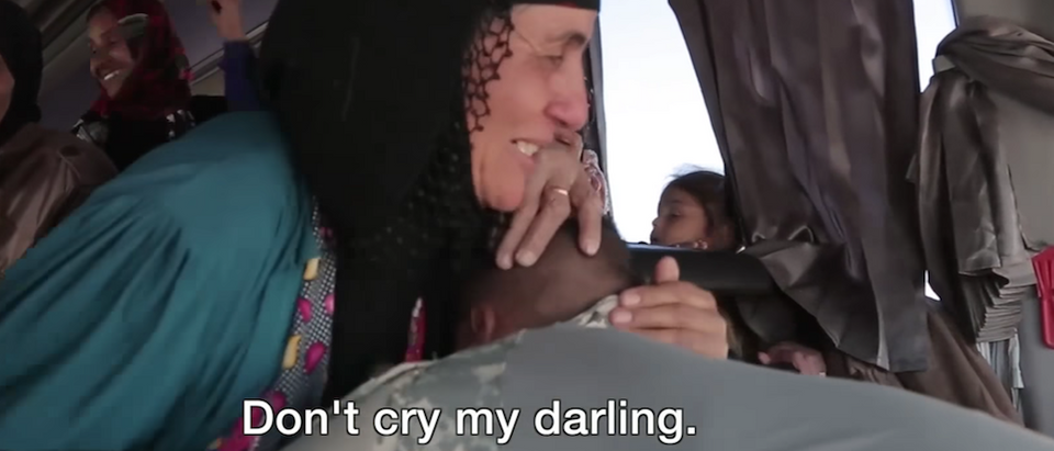 An Iraqi soldier had a chance reunion with his family from Mosul after the city was recently liberated from the Islamic State. (screenshot/youtube)
